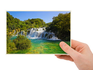 Krka waterfall (Croatia) photography in hand