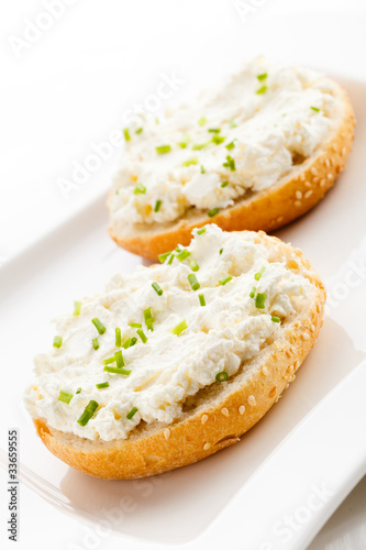 Sandwiches - kaisers with cream cheese