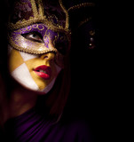 Fototapety portrait of sexy woman in violet party mask