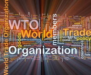 World trade organization background concept glowing