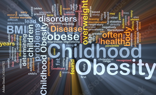 Childhood obesity background concept glowing