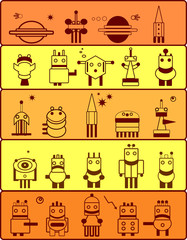 Set of robots inhabitants of the planet Mars. Cartoon.