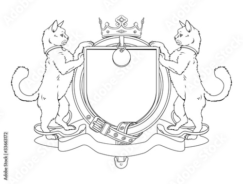 Cat pets heraldic shield coat of arms