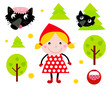 Little Red Riding Hood & Black Wolf icon collection. Vector