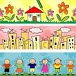 Banner bambini casa e palazzi seamless