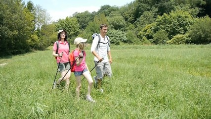 Family on hiking day