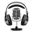 Realistic retro microphone and headphones
