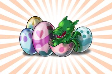 Draghetto neonato esce da uova di pasqua