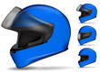 set of blue motorcycle helmet isolated on white