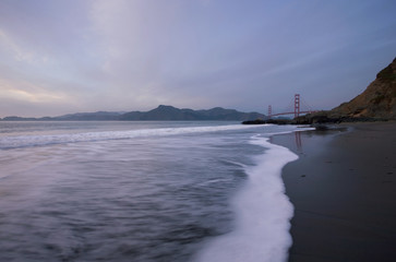 Golden Gate Bridge at sunset, San Francisco, from Baker's Beach