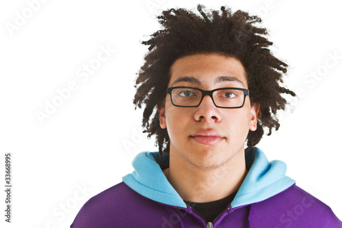 Teenager with crazy hair isolated