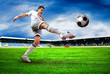 Happiness football player after goal on the field of stadium wit - 33670525