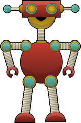 Odd Colorful Robot Illustration standing with bent elbow