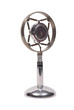 metal microphone on white background
