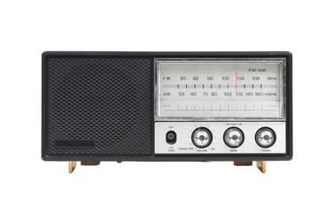 grungy retro radio isolated on white