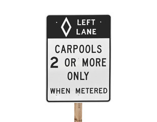 Carpool Sign Isolated