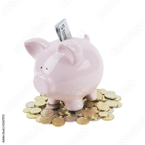 Lucky piggy bank isolated on white background.