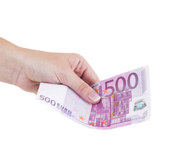 The female hand holds euro