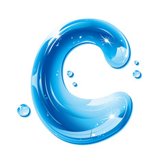 Water Liquid Letter - Capital C