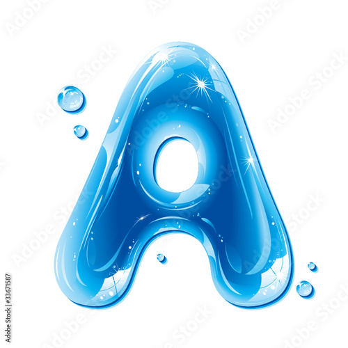 Water Liquid Letter - Capital A