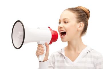 teenage girl with megaphone