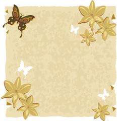 Papel com lírios e borboletas