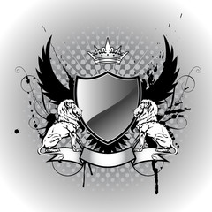 Grunge heraldry shield with lion
