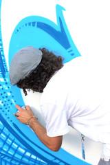 Graffiti blanc et bleu