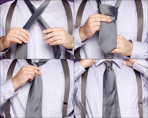 Sequence illustrating a man tying a necktie