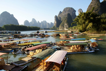 Bamboo raft in xingping village