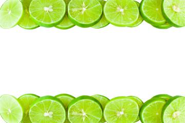 Green lemons  lining to the frame.