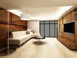 Modern living room design in 3D rendering