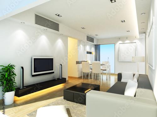 Modern living room design in 3D rendering