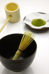 Tea-things of traditional japanese powdered green tea