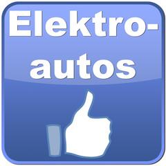 Button Elektroautos mit Daumen hoch