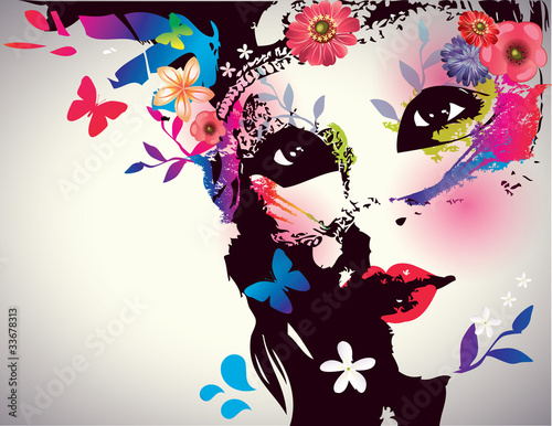Fotobehang Floral Vrouw Girl with mask/Vector illustration