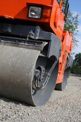 Road roller closeup