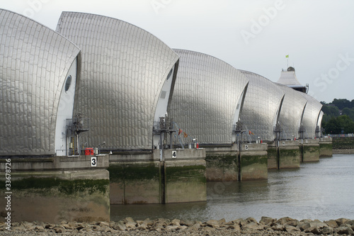Thames Barrier, movable flood barriers, London, UK
