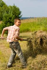 Мальчик собирает сено в стог