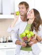 Lovely Sweet Couple eating fresh fruits. Healthy food. Diet