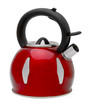 Red tea kettle isolated on white