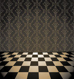 Checkered room with wallpaper