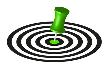 Target with green pin