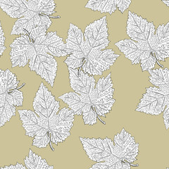 Grape leaves. Seamless pattern. Vector, eps8, easy editable.