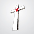 Hand Drawn Cross with Heart
