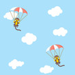 Monkey parachute childish wallpaper