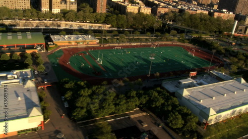 Aerial view of Midtown Manhattan and Sporting areas, NY, USA