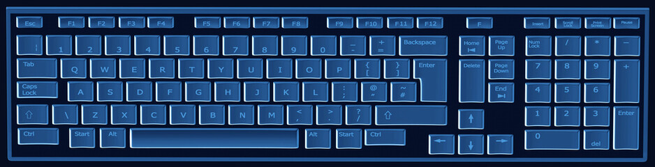 Computer keyboard in black and blue