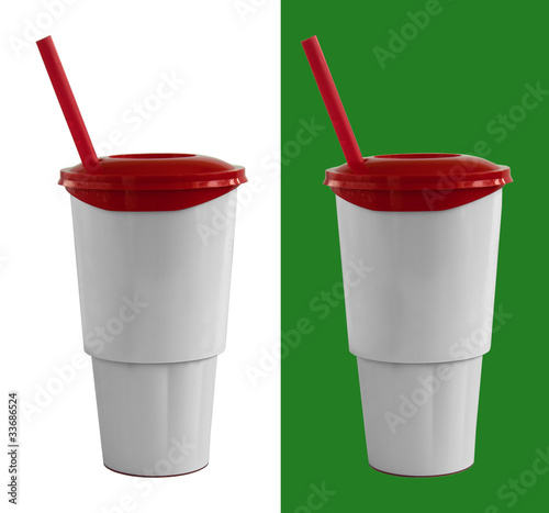 Fast food cup with red tube