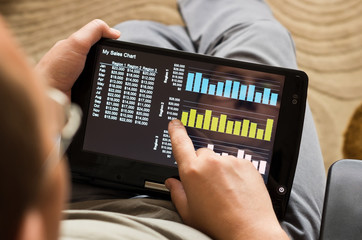 sales chart on tablet-pc